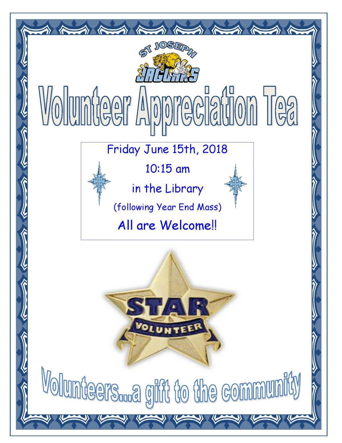Volunteer Appreciation Tea Friday, June 15 at 10:30 am