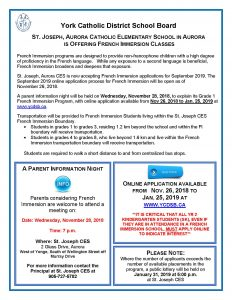 SJA French Immersion Night for SK families is November 28 at 7pm