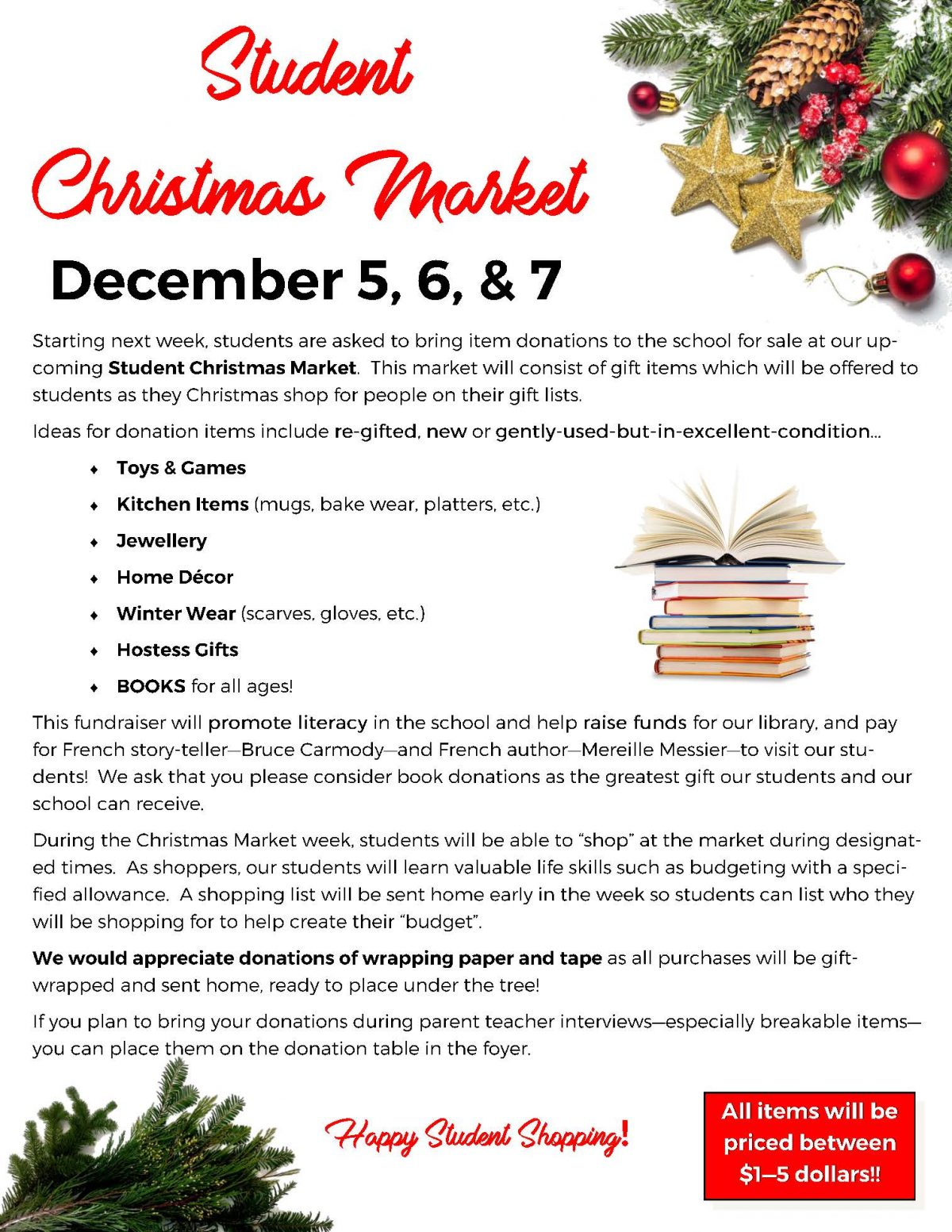Student Christmas Market Dec 5-7