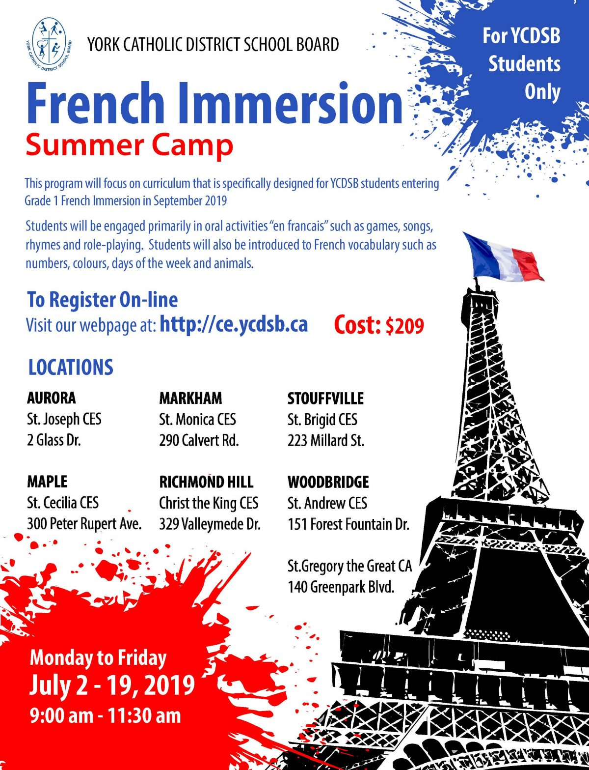 Grade 1 French Immersion Summer Camp Info
