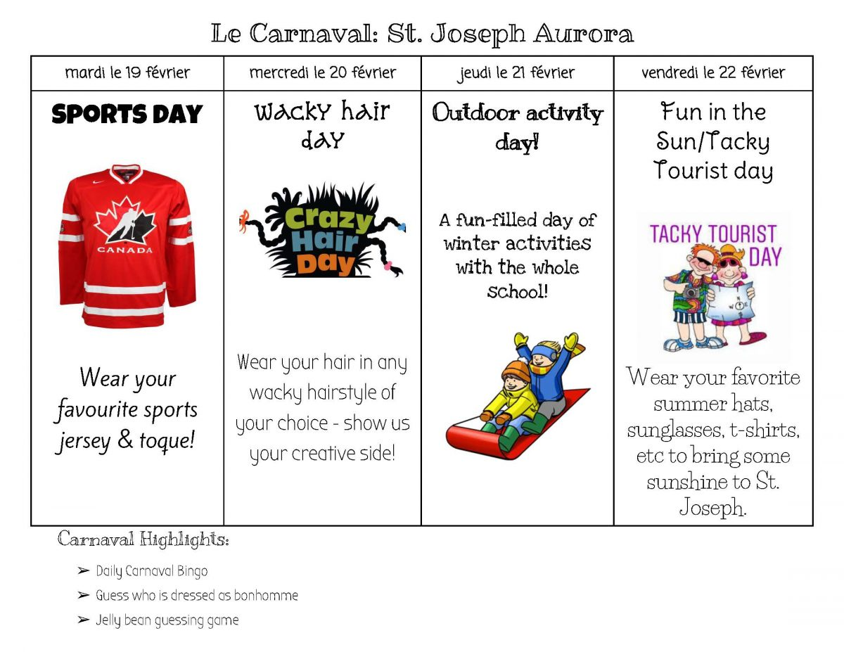 Carnaval Week Activities Feb 19-22