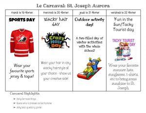 Carnaval Week Activities Feb 19-22