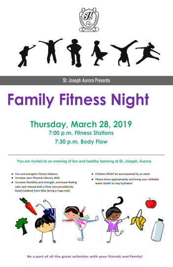 Family Fitness Night:  March 28, 7-8pm
