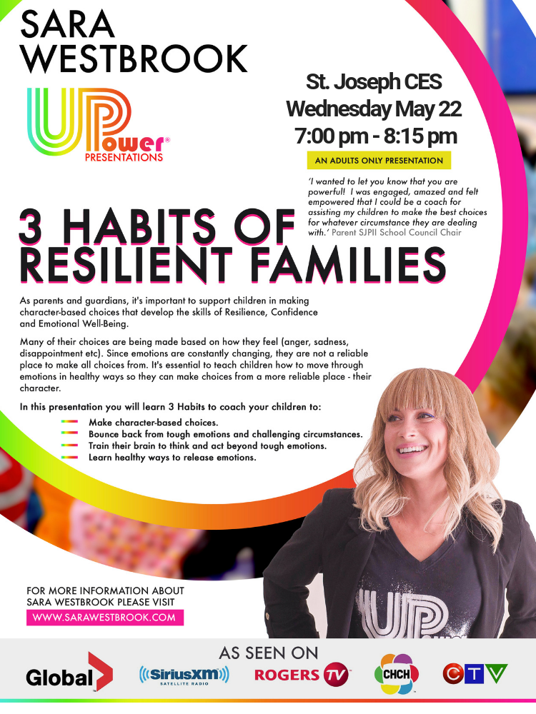 Sara Westbrook presents '3 Habits of Resilient Families' May 22 at 7pm