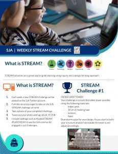 SJA STREAM Challenge for families: Index Card Tower